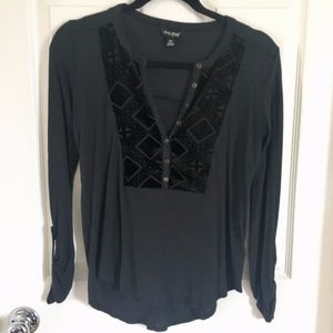 Lucky Brand Black Henley Top Size XS